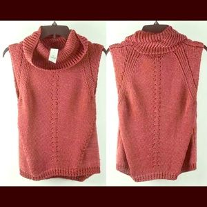 Sleeveless Mauve Red Crochet Turtleneck Vest