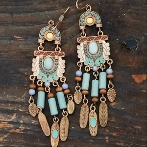 Bohemian Metal Feather Gold Turquoise Costume Earr