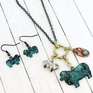 Patina Sheep Charm Necklace & Earring Set