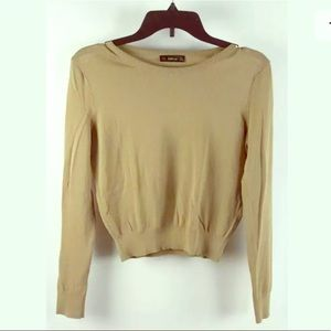 Zara Camel Brown Long Sleeve Cropped Knit Sweater