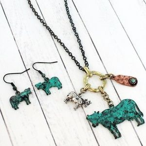 Patina Cow Charm Necklace & Earring Set