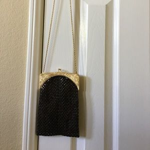 Art Deco brown metallic little evening bag