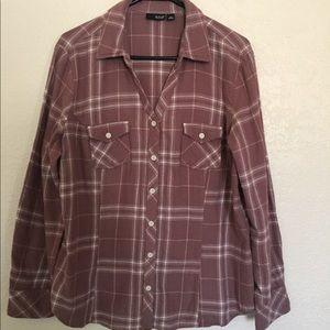 Mauve flannel button down top