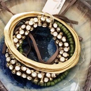 Boho Mixed Bracelet Set NWT Olive