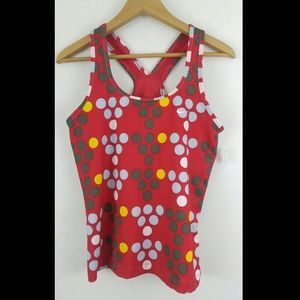 Nike L red polka dots workout top