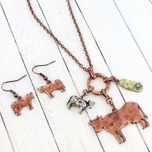 Burnished Coppetone Cow Charm Necklace Set