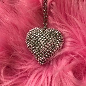 Silver bling heart necklace