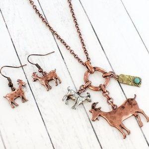 Burnished Coppertone Goat Charm Necklace Set