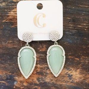 Mint Rhinestone Dangle Silvertone Earrings Arrowhe