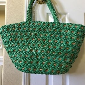 Handbags - Raffia Green beach or shopping bag