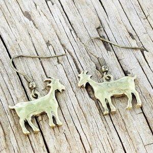 Burnished Brasstone Goat  Earrings