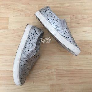 Metallic Silver Slip On Sneaker Laser Cut Stars
