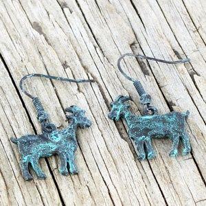 Patina Goat Earrings