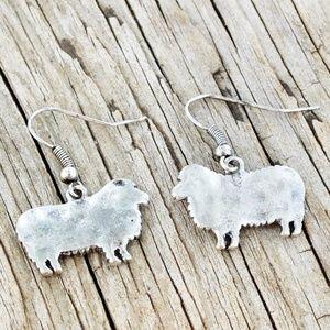 Burnished Silvertone Sheep Earrings