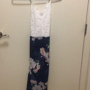 Lace white/blue flower dress
