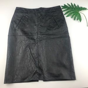 Cabi #509 Black Faux Leather Pencil Skirt Size 2