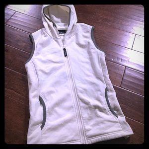 Athleta Cream Hooded Zip Sweater Vest SZXL