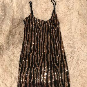 Sequin Black and Gold Slip Dress S