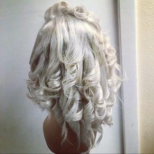 Human hair wig Platinum color bob cut with curls