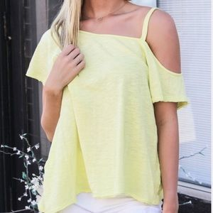 We The Free Coraline Cold Shoulder Top Yellow