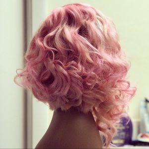 Shortcut curly pastel pink Human hair wig
