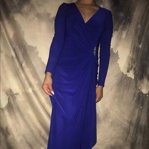 Long beautiful royal blue dress.