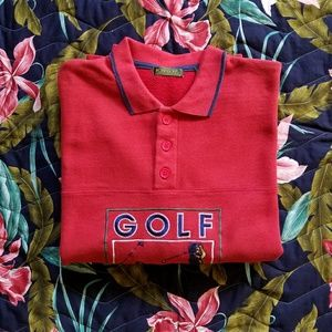 Vintage Stitched Big Golf Graphic Polo Sweater