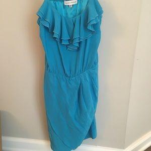 Amanda Uprichard Aqua Ruffle Dress Sz M