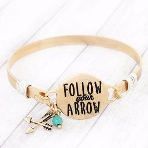Worn Goldtone 'Follow Your Arrow' Bracelet