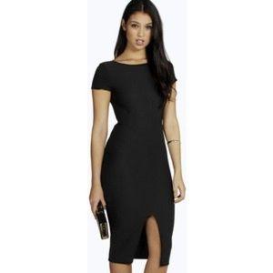 Boohoo Anna Slit MIDI dress in Black uk size 8