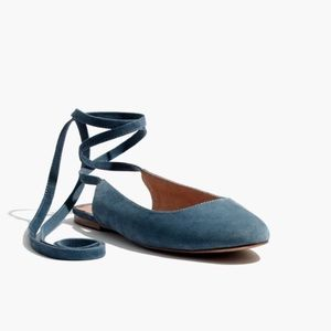 Madewell Blue Suede Ankle Wrap Flat