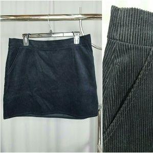 Black Corduroy Mini Skirt