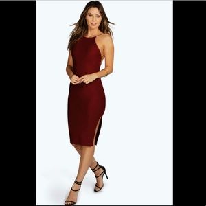Lydia crepe backless midi dress in BERRY uk size 6