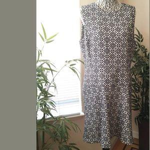 Tory Burch flared jacquard textured burlap dress
