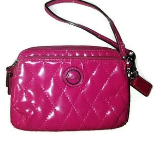 Fuschia patent leather coach wristlet