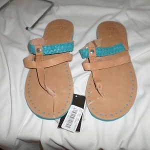 UGG AUDRA TAN AND TURQUOISE LEATHER SANDALS SZ 9M
