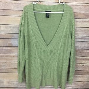 Lane Bryant Green V-Neck Sweater Size 18/20