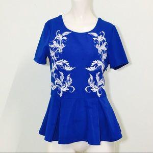 Lush Gorgeous Blue Embroidered Peplum Blouse!