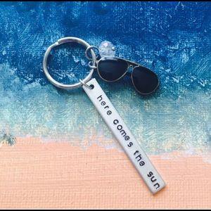 Beatles lyrics keychain here comes the sun, beach