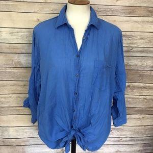 Aerie Blue Button Front Top Shirt