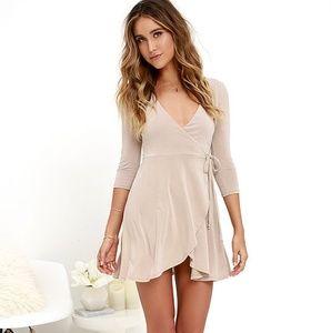 Beige wrap dress NWOT