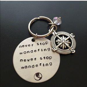 NWT wanderlust travel keychain hand stamped