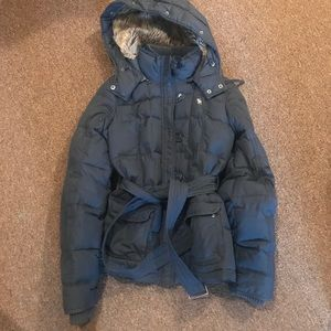 Abercrombie & Fitch Coat - Navy Blue