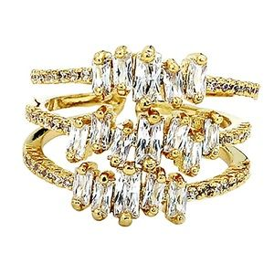 Three layers of sparkling crystal gold ring