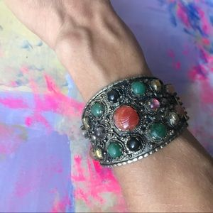 Vintage Bracelet Bohemian Gypsy Silver Tone