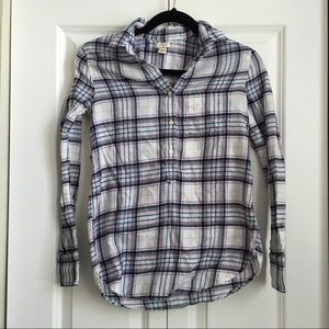 J.Crew lightweight flannel check popover shirt-XXS