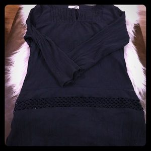Old navy tunic with crocheted details in navy blue