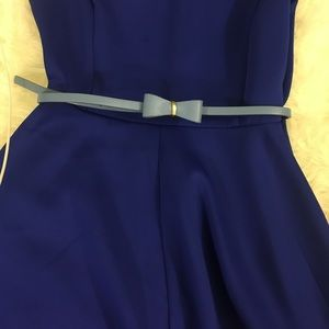 Blue Leather Bow Belt