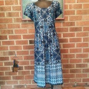 Kim Rogers blue/white/green patterned dress
