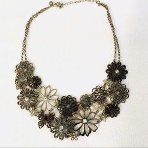 Silver Floral Bib Statement Necklace